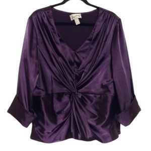 Joseph Ribkoff Purple Sateen Top
